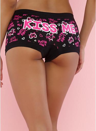 Graphic Print Boyshort Panties,BLACK,large