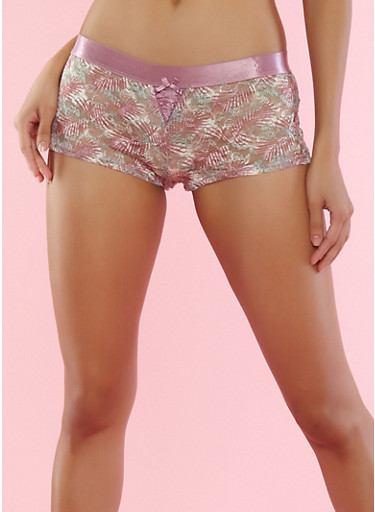 Lilac Floral Lace Boyshort Panties,LILAC,large
