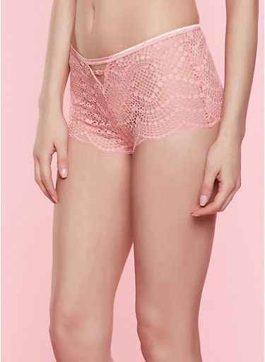 Caged Keyhole Lace Boyshort Panty | 7150035168749,CORAL,large
