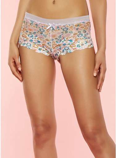 Printed Lace Boyshort Panties,LILAC,large