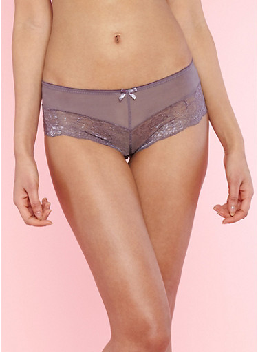 Lace Boyshort Panties with Mesh Detail,MED PURPLE,large