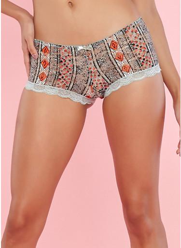 Border Print Lace Boyshort Panties,SAGE,large
