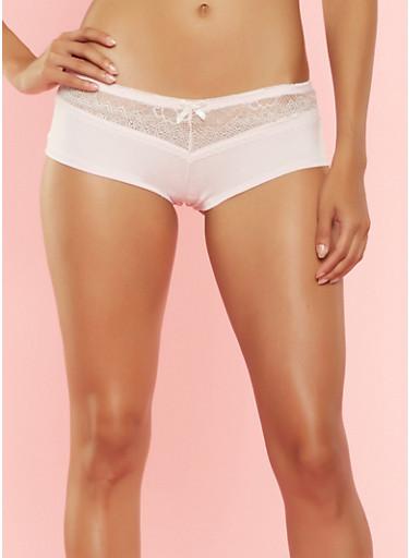 Lace Trim Boyshort Panties,PINK,large