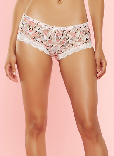 Floral Scallop Lace Boyshort Panties,PINK,large