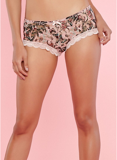 Butterfly Lace Boyshort Panties,PINK,large