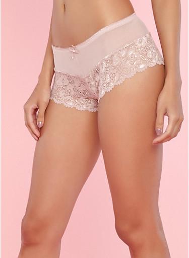 Pink Lace Boyshort Panties with Mesh Detail,PINK,large