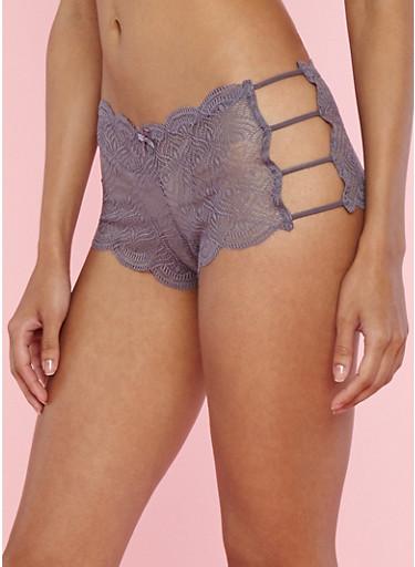 Lace Caged Side Boyshort Panties,MED PURPLE,large