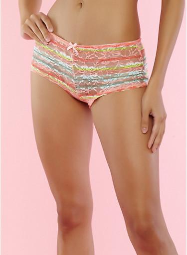 Striped Lace Boyshort Panties,PEACH,large