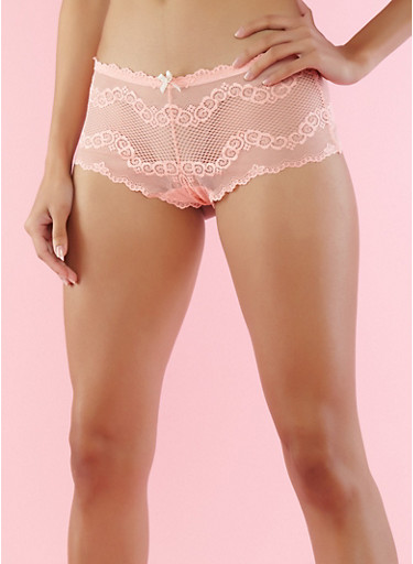 Peach Mesh Lace Boyshort Panties,PEACH,large