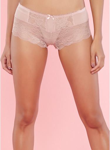 Pink Mesh Lace Boyshort Panties,PINK,large