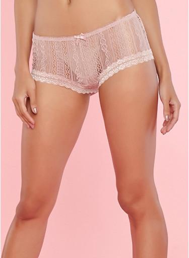 Pink Crochet Lace Boyshort Panties,PINK,large