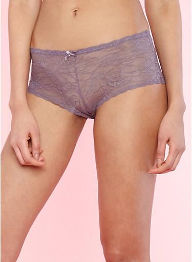Purple Lace Boyshort Panties,MED PURPLE,large