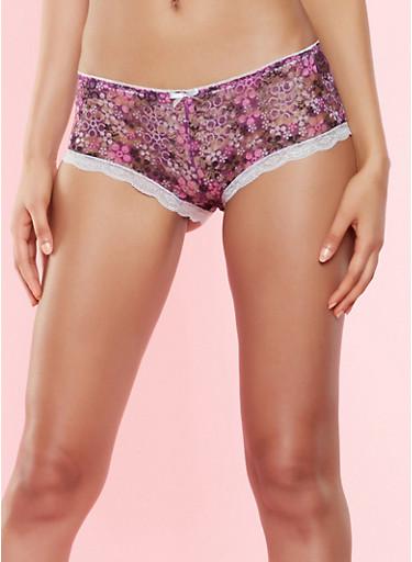 Printed Lace Boyshort Panty,WINE,large