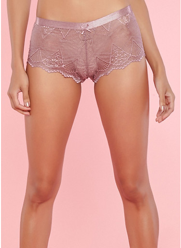 Lace Cheeky Boyshort Panties,DUSKY ORCHID,large