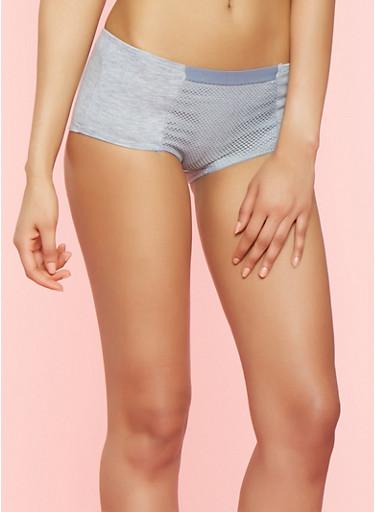 Fishnet Panel Boyshort Panties,STONE,large
