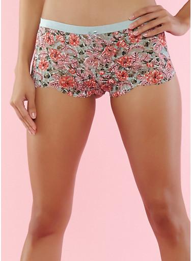 Printed Lace Boyshort Panties,JADE,large