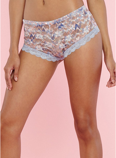 Printed Lace Boyshort Panties,EVENTIDE MULTI,large