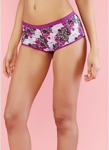 Floral Lace Boyshort Panties,PURPLE,large