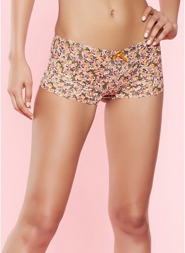 Printed Lace Boyshort Panty,SAGE,large