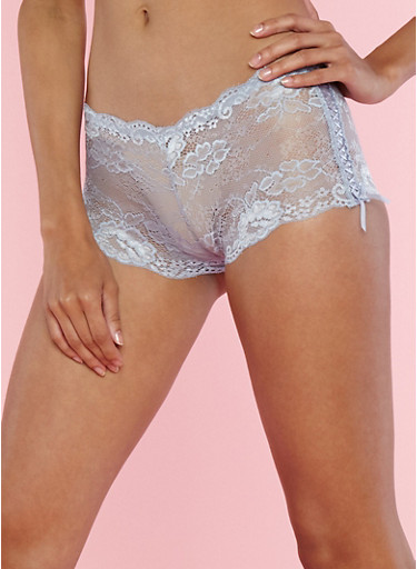 Criss Cross Side Lace Boyshort Panties,EVENTIDE MULTI,large