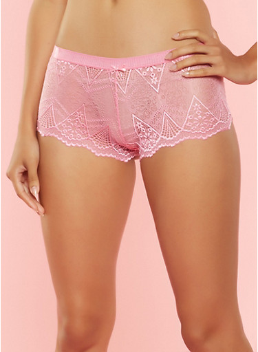Lace Boyshort Panties,PINK,large