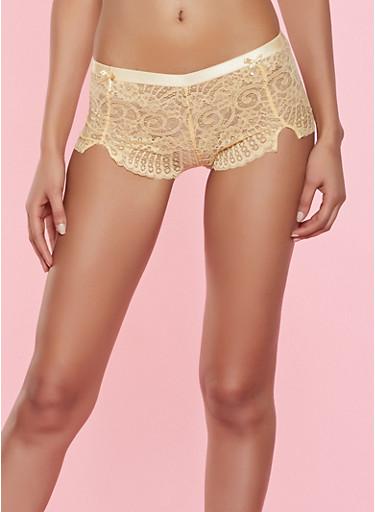 Lace Cheeky Boyshort Panty,YELLOW,large