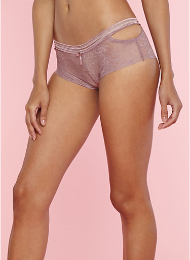 Lace Boyshort Panties with Cut Out Sides,DUSKY ORCHID,large