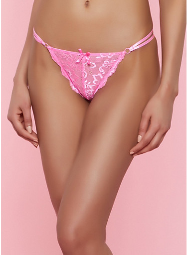 Double Strap Lace Thong Panty,PINK,large
