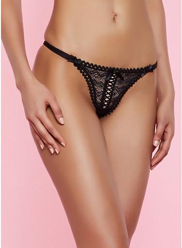 Ribbon Lace Up Thong Panty | 7162035160759,BLACK,large