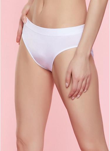 Solid Seamless Bikini Panty | White,WHITE,large