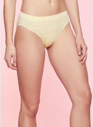 Striped Seamless Bikini Panty | 7162064871924,YELLOW,large