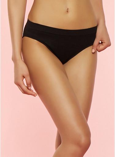Solid Seamless Bikini Panties,BLACK,large