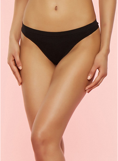 Solid Seamless Thong Panty,BLACK,large