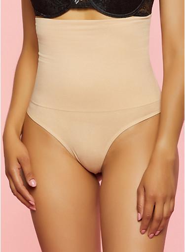 Seamless Shapewear Thong Panty,NUDE,large