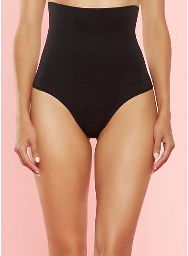 Tummy Control Thong Panty,BLACK,large