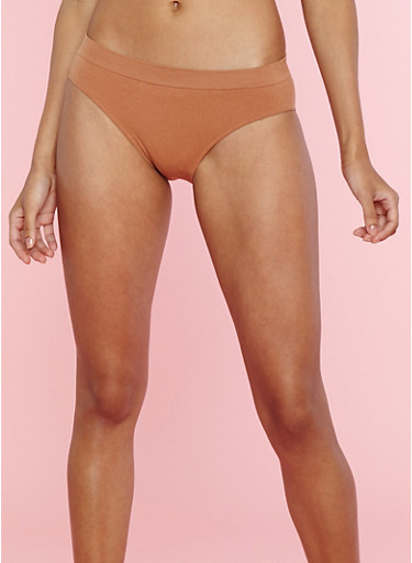 Solid Bikini Panties,BROWN,large