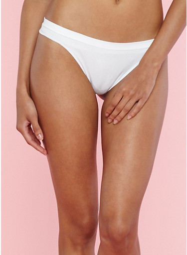 Solid Thong Panty,WHITE,large