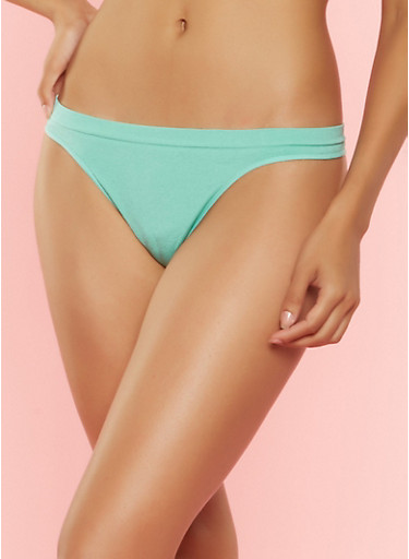 Solid Seamless Thong Panties,MINT,large