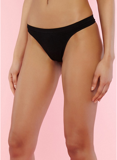 Solid Seamless Thong Panties,BLACK,large