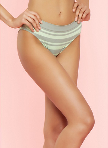 Striped Seamless Bikini Panties,SAGE,large