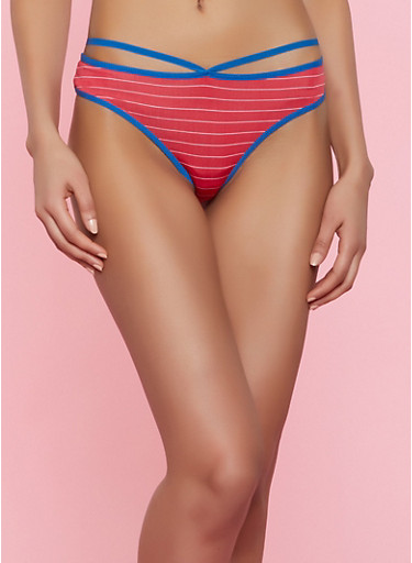 Caged Striped Thong Panty,RED,large