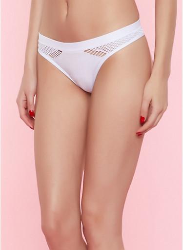 Fishnet Detail Seamless Thong Panty,WHITE,large
