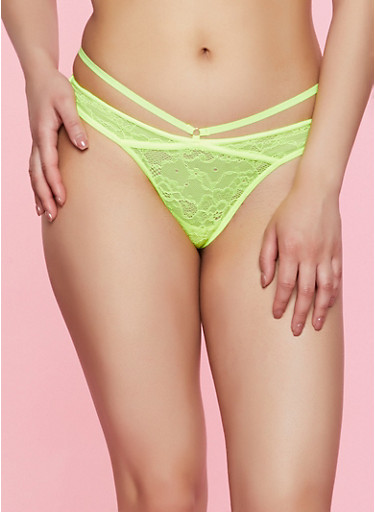 Caged Lace Thong Panty | 7162068067266,NEON LIME,large