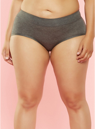 Plus Size Hipster Panties,CHARCOAL,large