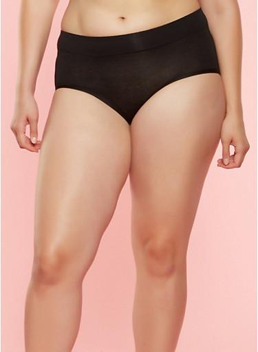 Plus Size Hipster Panties,BLACK,large