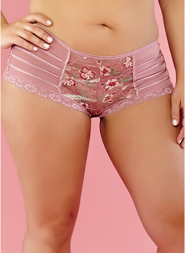 Plus Size Floral Lace Boyshort Panties,LILAC,large