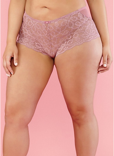 Plus Size Mesh Lace Cheeky Boyshort Panties,LILAC,large
