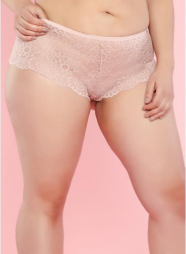 Plus Size Pink Lace Boyshort Panties,PINK,large