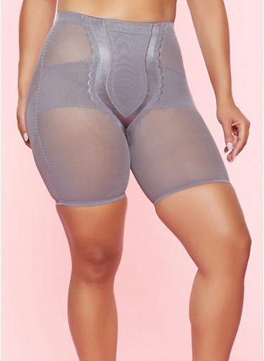 Plus Size Mesh Shapewear Shorts,GRAY,large