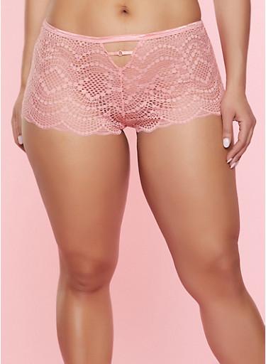 Plus Size Lace Boyshort Panty | 7166035168750,CORAL,large